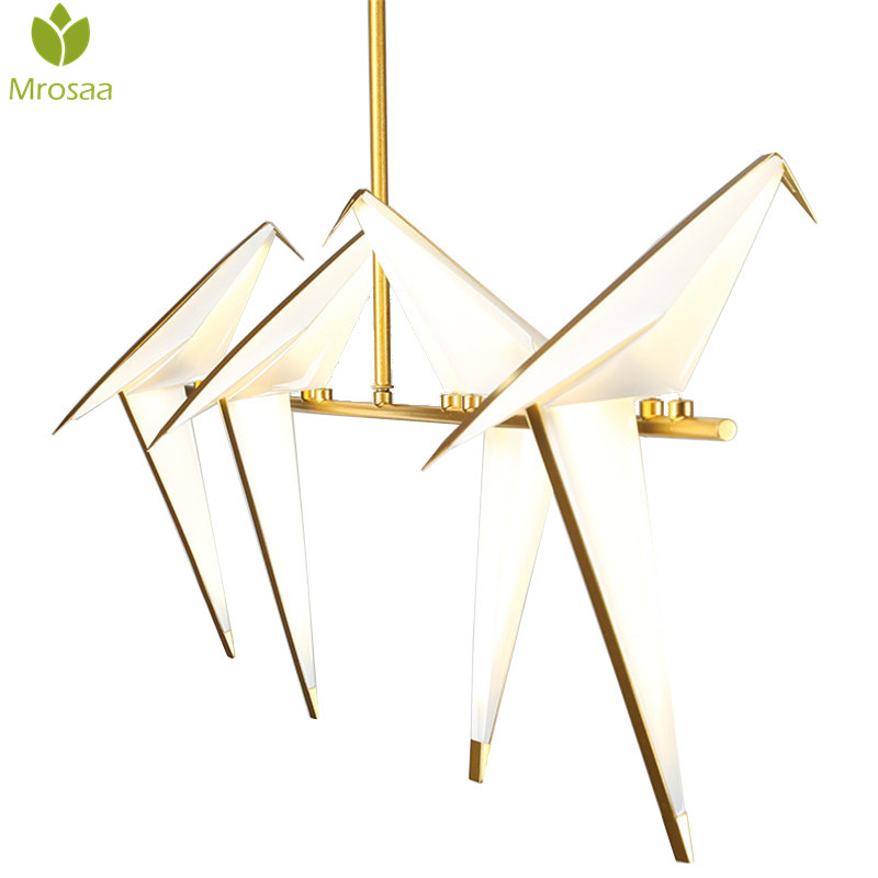 Post modern Creative 8W 110V 220V Nordic Single Origami Crane Bird Modern Pendant Ceiling Lamps Living Room Foyer LED Wall Lamp