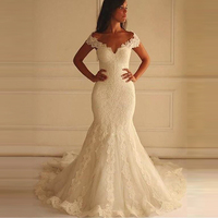 Vestido De Novia Sirena Vintage V Neck Off Shoulder Wedding Dress Lace Bridal Dress Mermaid Wedding Gown 2019 Robes De Mariee