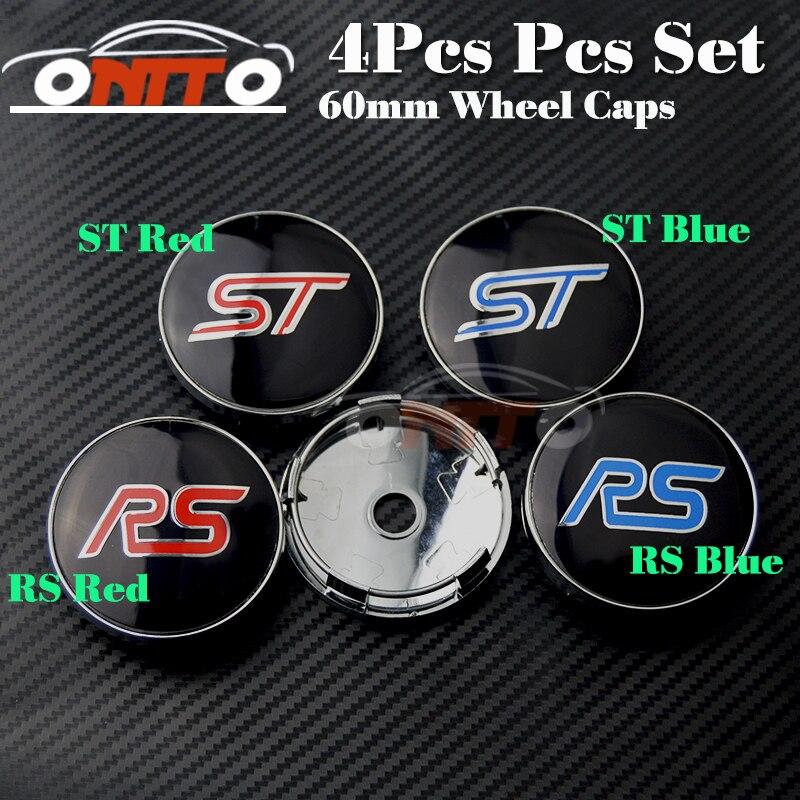 Prix pour Meilleur Match Auto accessoires 4 Pcs 60mm Moyeu De Roue ST RS Bouchon Étiquette Auto Center De Roue Logo Couvercle en aluminium pvc