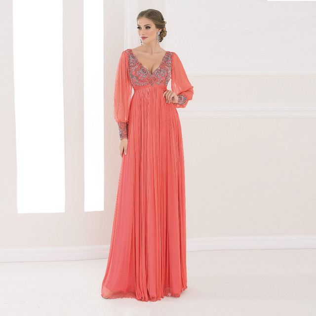 2016 Elegant Evening Dresses Coral Color Chiffon Long Sleeves ...
