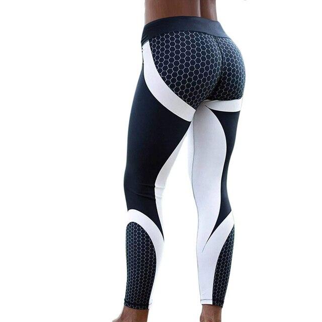 Hayoha Siatki Wzór Druku Legginsy fitness Legginsy Dla Kobiet Sporting Trening Legginsy Elastyczne Wąskie Czarne Białe Spodnie
