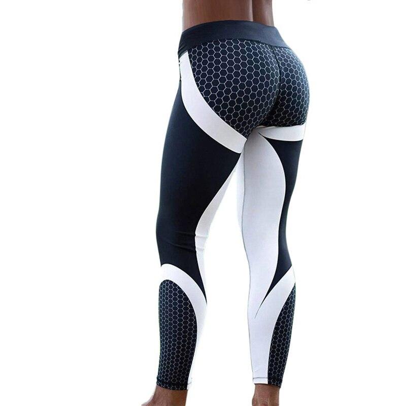 Hayoha malla patrón impresión Leggings fitness para las mujeres Sporting Leggins elástico Delgado Pantalones negro blanco