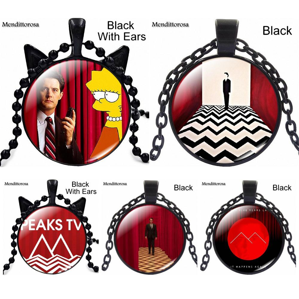 Retro Style Vintage Jewelry Bronze Plated With Glass Cabochon Long Pendant Necklace For Unisex Party Gift Twin Peaks