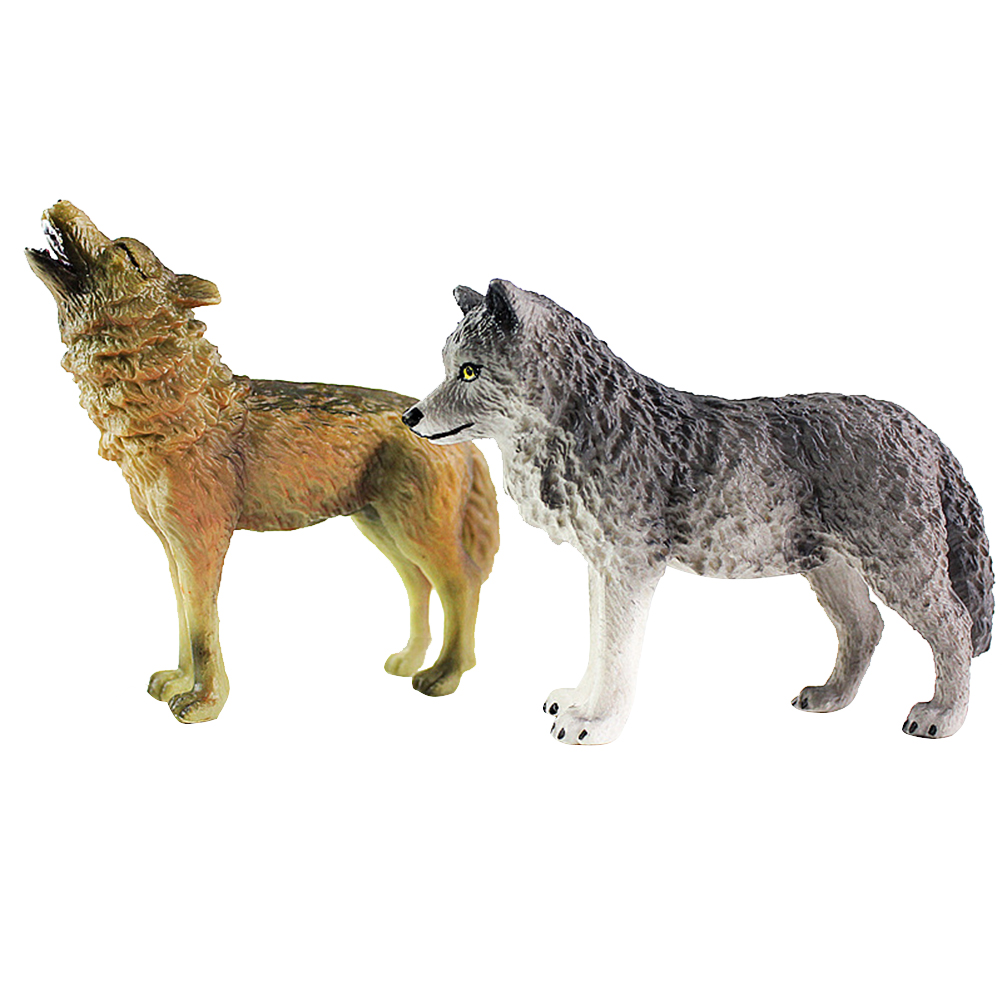Kids Toy Craft Wild-Animal-Model Decoration Wolf Figurine Realistic-Collection 2pcs Desktop-Ornaments