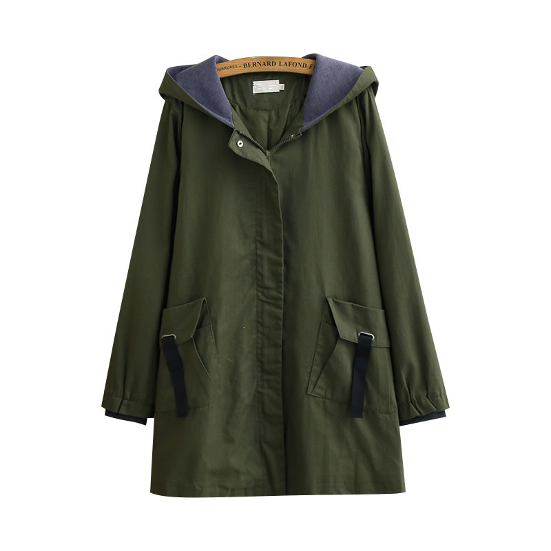 Plus size Windbreaker Coat Women Spring Autumn New Fashion Hooded Medium long Overcoat Casual Tops Female   Trench   Basic Coat 533
