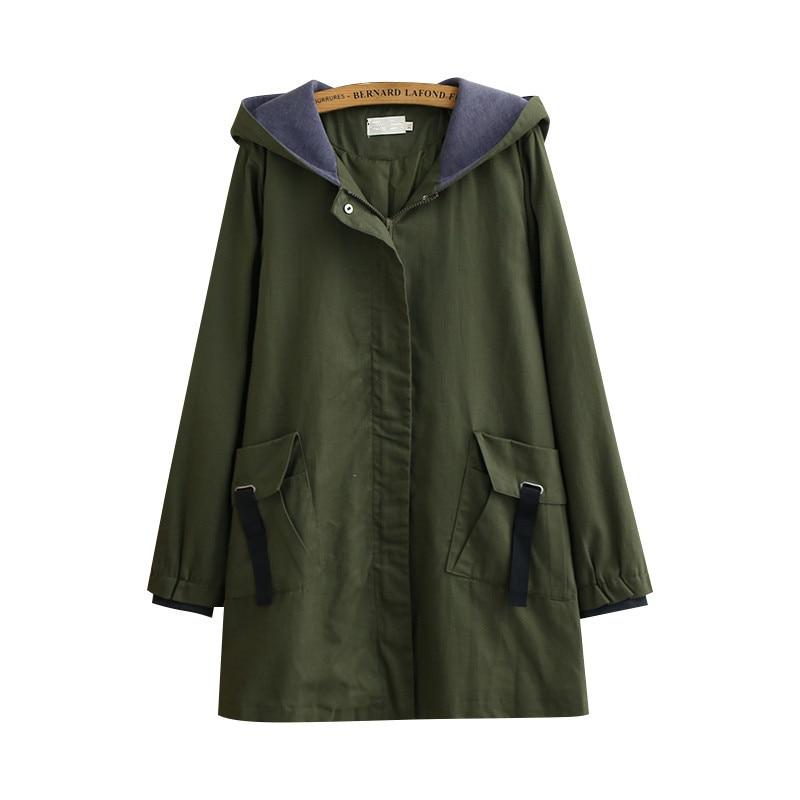 Plus Size Windbreaker Coat Women Spring Autumn New Fashion Hooded Medium Long Overcoat Casual Tops Female Trench  Basic Coat 533