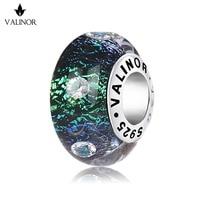 Verde istantaneo Variopinto inlay zircone perle di murano fascini Dell'argento Sterlina 925 misura I Braccialetti per i Monili Delle Donne JKLL006-2