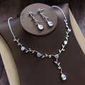 Brief Kalyptolith Silver Plating Bridal Necklace Married Chain Sets Dinner Accessories Jewelry Set