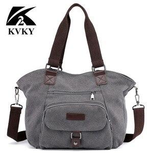 Image 3 - KVKY marka kadın keten çantalar çanta rahat kanvas omuz çantaları Vintage çapraz postacı çantası kadın bez çantalar trapez