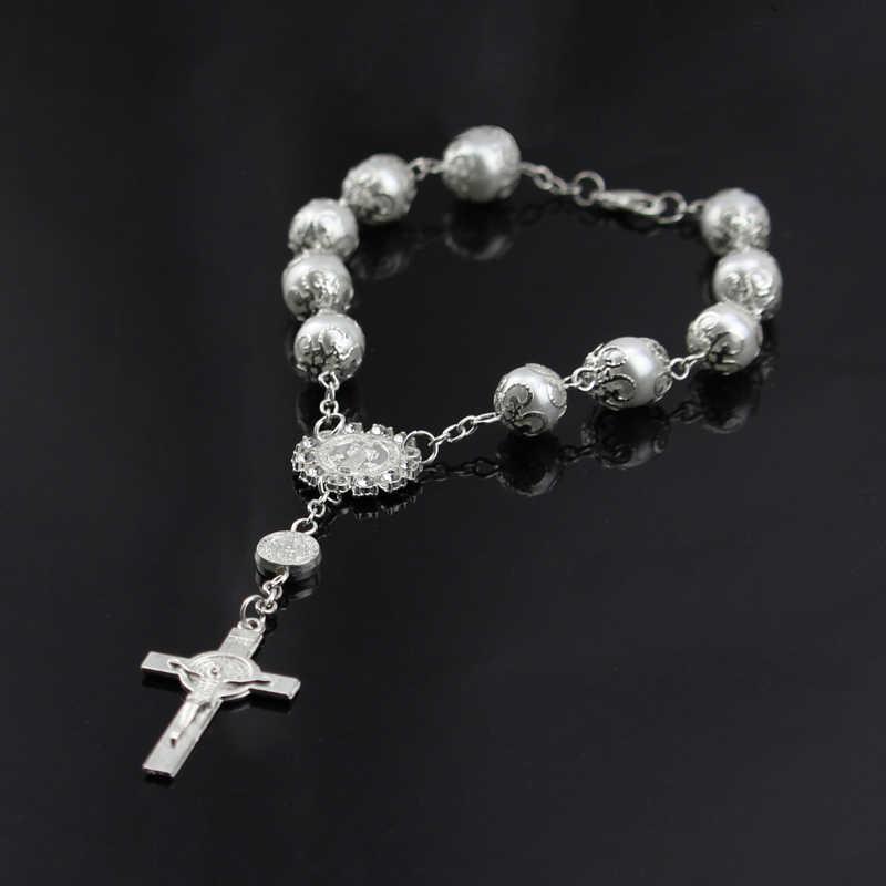 宗教ブレスレットホワイトグラスパールイミテーションロザリオ子供の聖体赤ちゃんの洗礼ブレスレット好意カトリックミニロザリオ