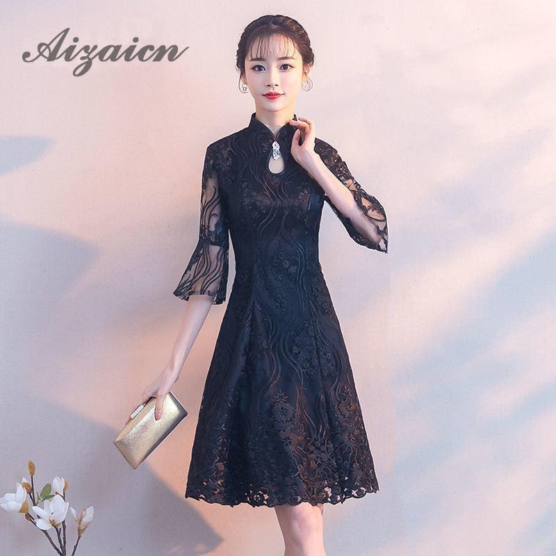 Cheongsam robe d'été mariée 2018 dentelle noire une ligne courte fille Qipao robe de mariée traditionnelle chinoise robes de soirée orientales