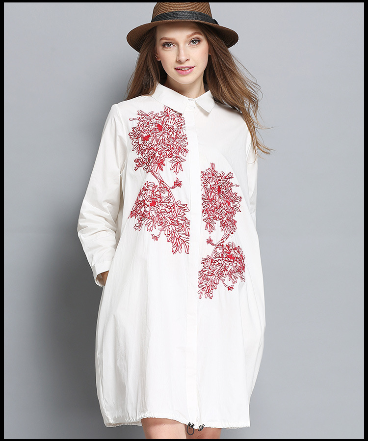 4XL décontracté long chemises de grande taille 2017 nouvelle européenne femme surdimensionné blanc broderie longue outwear chemises blouses grande taille