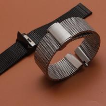 Новые Ремешки для наручных часов, 18 мм, 20 мм, 21 мм, 22 мм, 24 мм, серебристый цельный браслет из нержавеющей стали, сетчатый ремешок для часов, застежка для дайвинга, сменный ремешок