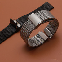 new Watchbands 18mm 20mm 21mm 22mm 24mm Silver Solid Stainless Steel Mesh Bracelet Watch Mesh Band Diving Clasp Replacement Band