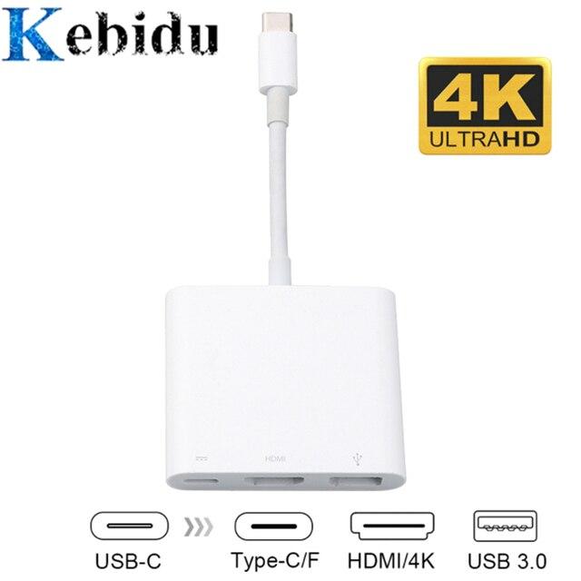 Kebidu USB C כדי HDMI סוג C USB 3.1 רכזת USB-C כדי USB 3.0/HDMI/סוג C נקבה מטען מתאם, עבור Macbook החדש, Dell XPS 13