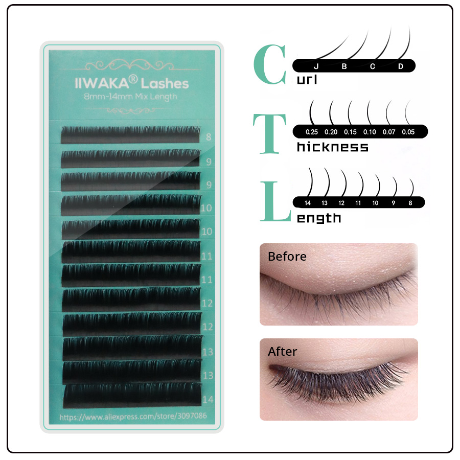 Iiwaka Makeup Training Lashes For Beginner Eyelash Extension