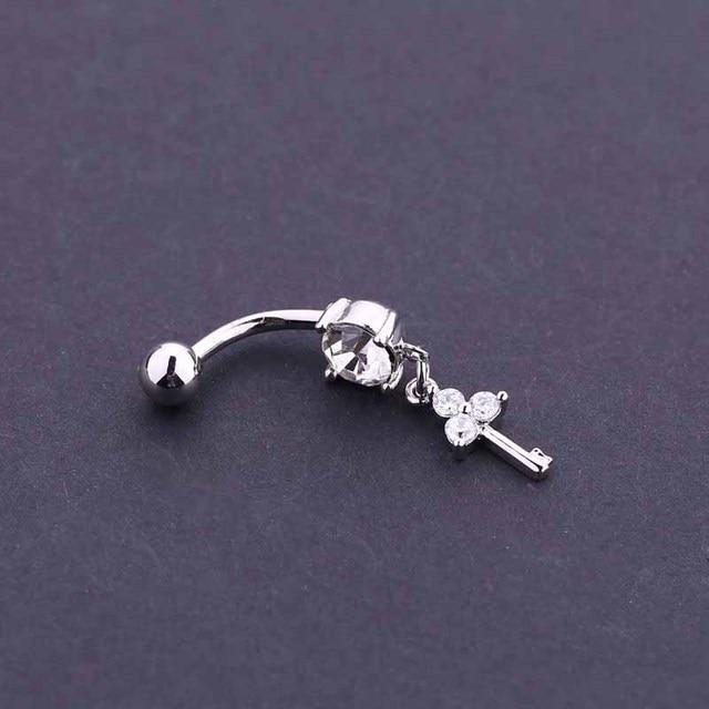 Us 2 04 5 Off 14g Navel Piercing Jewelry Key Lock Shape Woman Fashion Belly Piercing Dangle Belly Ring Shiny Navel Ring Body Piercing Jewelry On