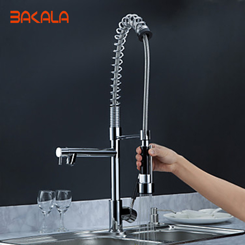 BAKALA Free shipping pull out kitchen faucet Solid Brass Thicken Chrome Spring faucets Two Spouts kitchen