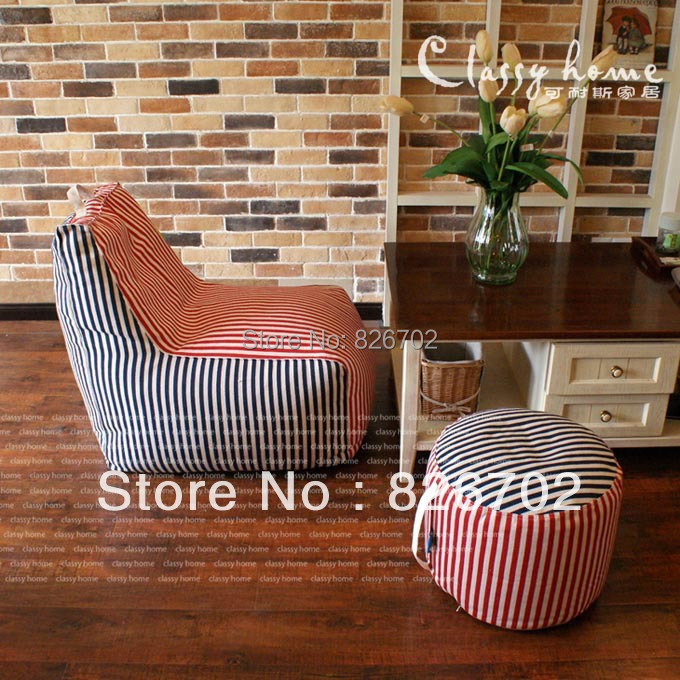 New Arrival 100 Cotton Beanbag Chair Footrest Set lazy beanbag Covers Removable And Washable