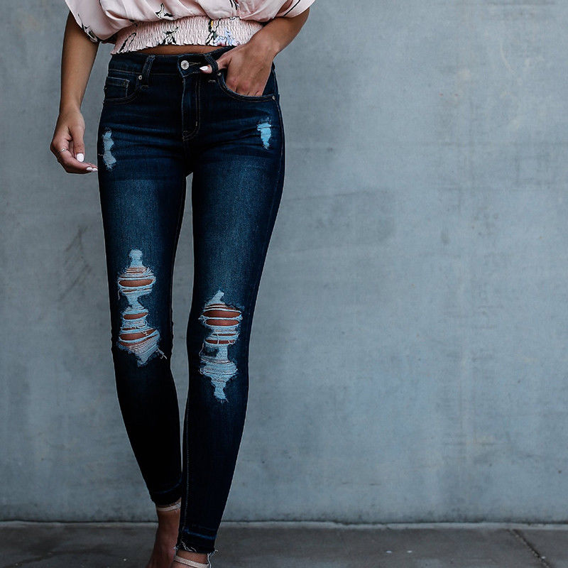 Casual Look Denim Skinny Ripped Jeans Womens High Waist Pencil Pants Ladies Stretch Hole Jeans Trousers For Women