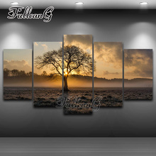 FULLCANG 5PCS Diy Full Square Diamond Embroidery Sunrise Tree Landscape Painting Cross Stitch Mosaic Needlework G272