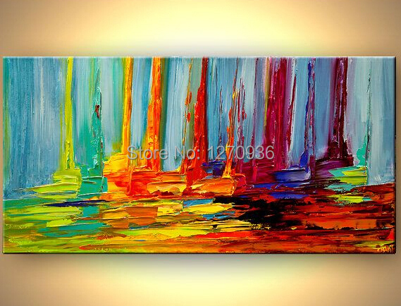 High Quality 100 Hand Painted Modern Abstract Colorful Sailing Palette Knife Oil Painting Fine Art Handmade Boats Canvas Picture in Painting Calligraphy from Home Garden