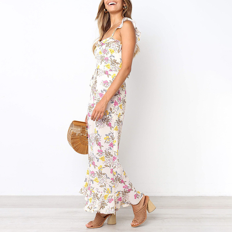 Women Summer Floral   Jumpsuits   Strappy Backless Sleeveless Ruffled Loose Pants KS-shipping