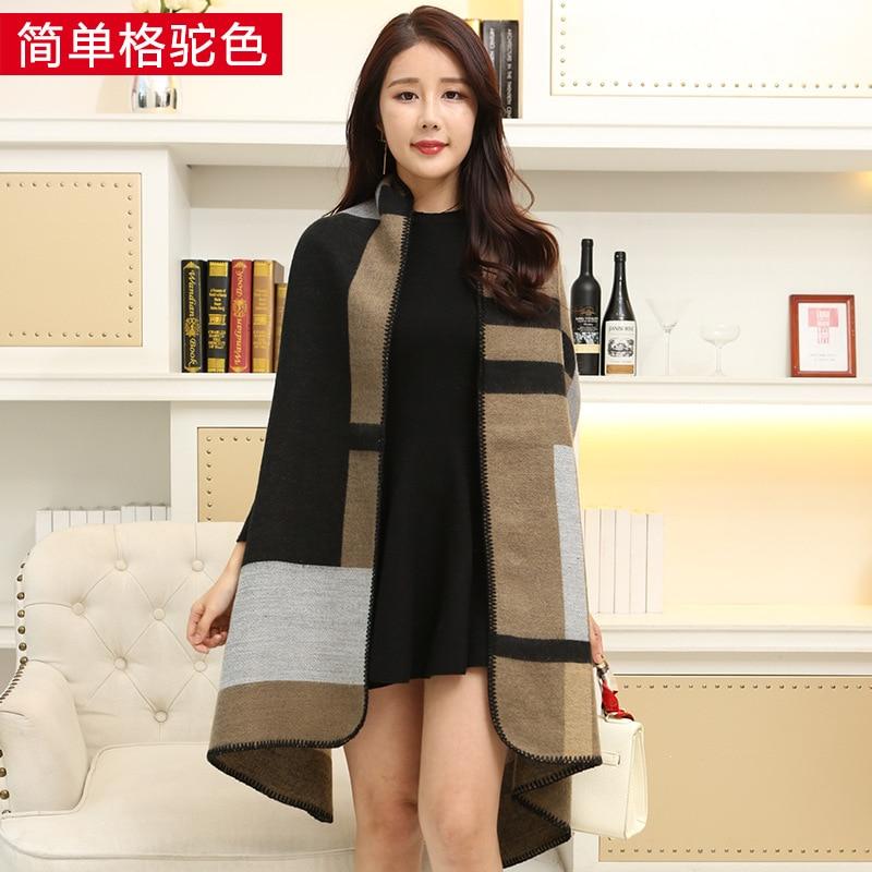 Новинка, роскошный брендовый женский зимний шарф, теплая шаль, женское Клетчатое одеяло, вязанное кашемировое пончо, накидки для женщин, echarpe - Цвет: A simple camel hair