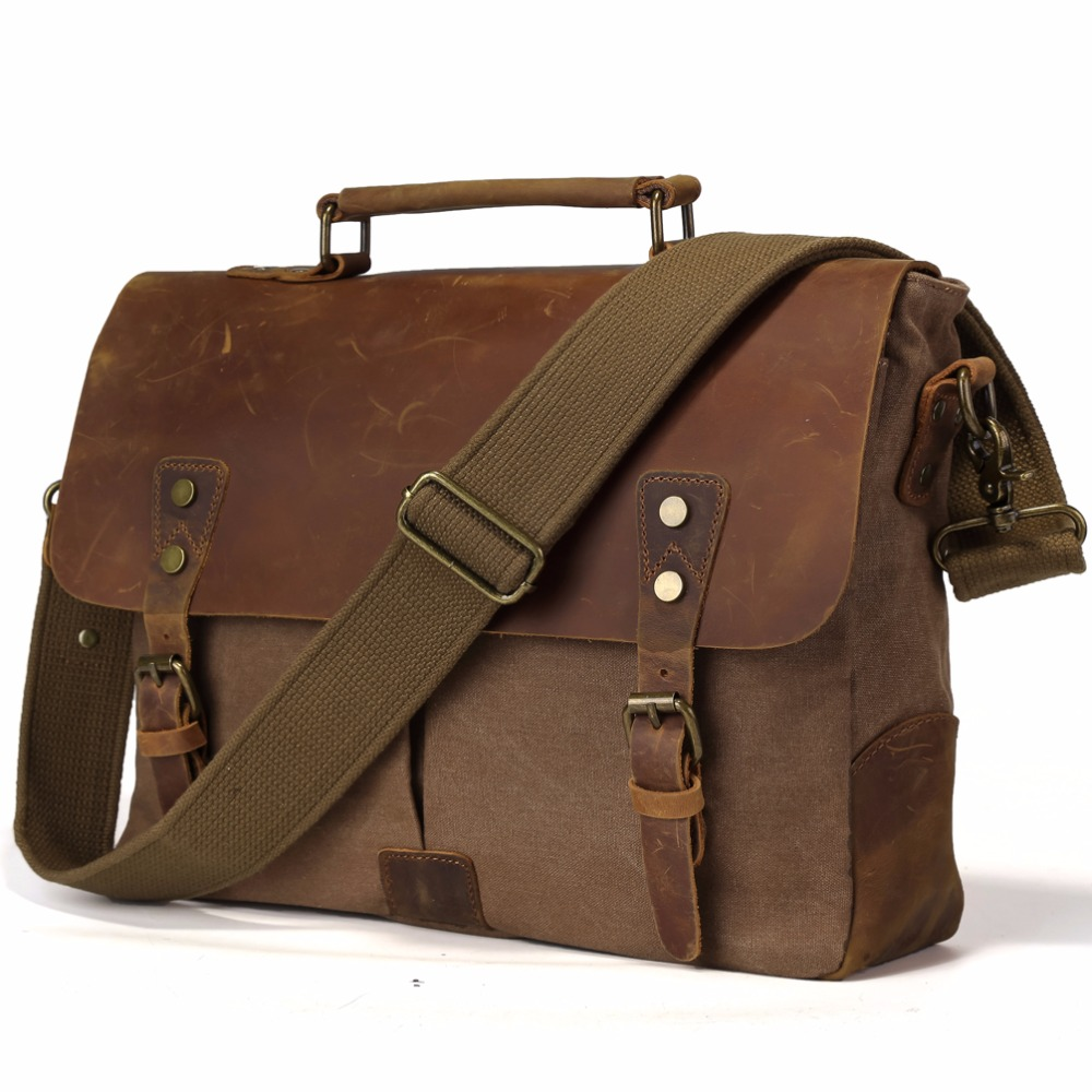 TIDING Vintage Real Leather Canvas Bags 14 inch Laptop Bag Retro Style Cross Body Messenger Bag Crazy Horse Leather Bags 11432