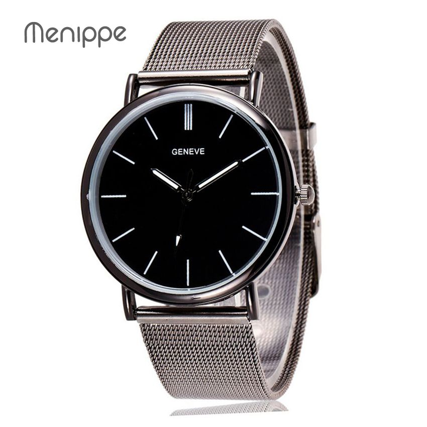 2020 New Elegant Women Men Black Round Feminino Relogio Japan Movement Steel Lady Mesh Steel Bracelet Lovers Quartz Watches