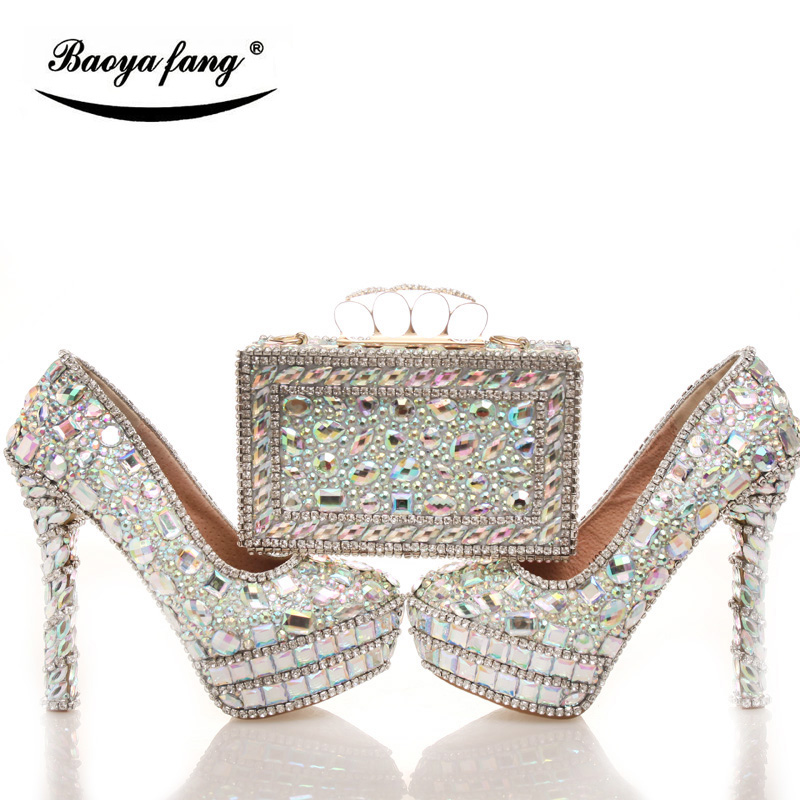 BaoYaFang New Bling crystal Womens Wedding shoes with matching bags Shining Rhinestone shoe and purse sets High shoes female baoyafang red crystal womens wedding shoes with matching bags bride high heels platform shoes and purse sets woman high shoes