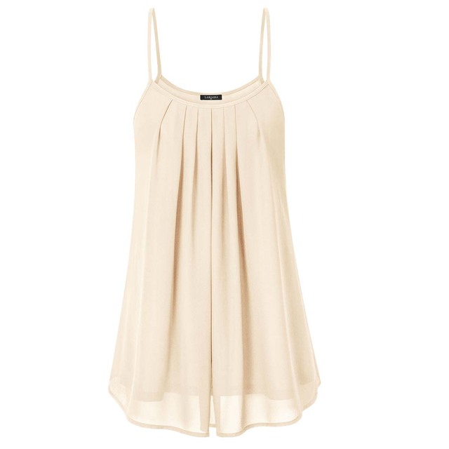 9d0fc4dbca41c Lotusmile Womens Summer Sleeveless Chiffon Camisole Sexy V Neck A Line  Ruffles Pleated Spaghetti Strap Tank Top 2017 Plus Size