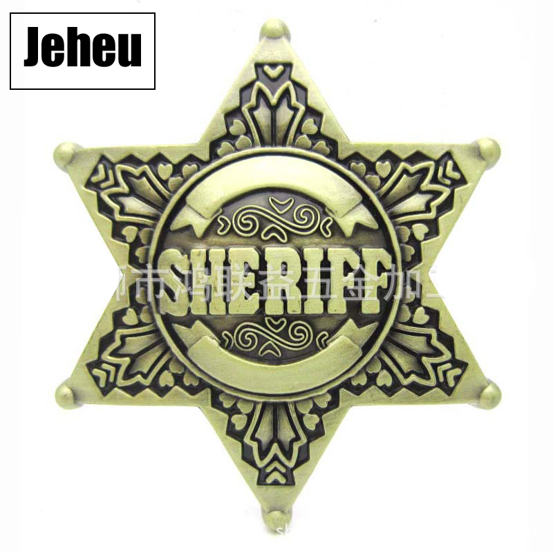 New Wholesale Vintage Hexagon Star Sheriff Belt Buckle Fashion Western Style Belt Buckle Ornament Accessories