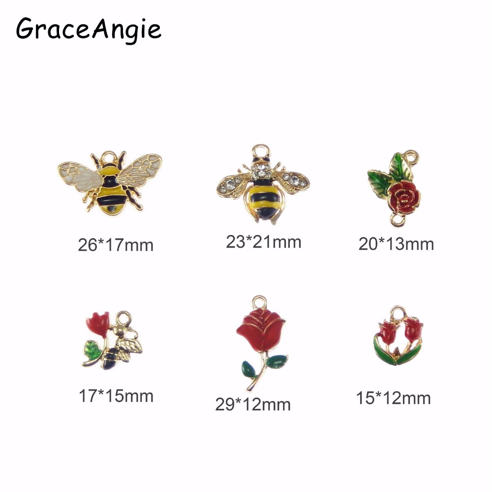 Mixed 6pcs Enamel Animal Charms Flower Rose Bees Jewelry Findings Necklace Pendant Charms Crafts Handmade Hair Accessories Cute