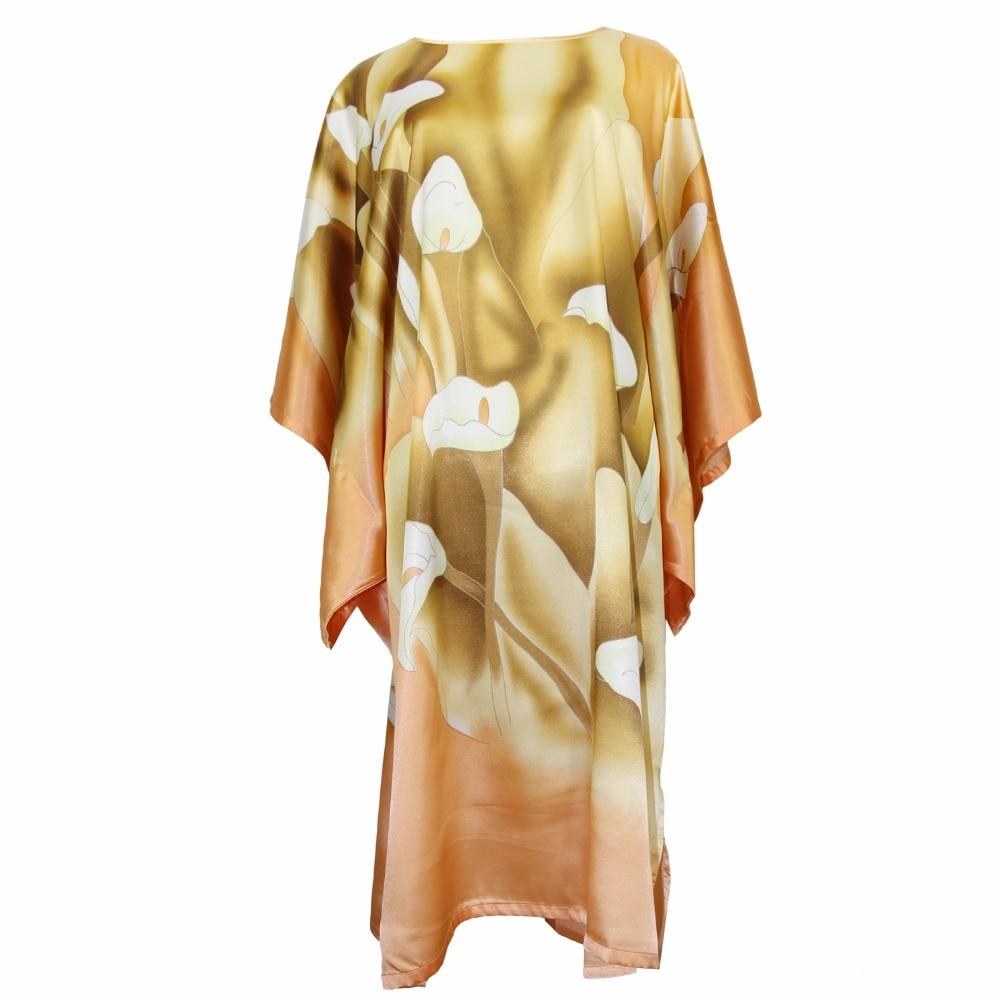 Rayon Yellow Robe Sexy Night Dress Casual Sleepwear Chinese Flower Nightwear Satin Women Intimate Lingerie Kaftan One Size