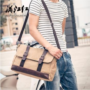 0934e85a3 Bolsos de mensajero de lona Vintage para hombre, bolsos de bandolera de  cuero de retazos para hombres, bolso de hombro informal grande, bolso de  hombre 1356