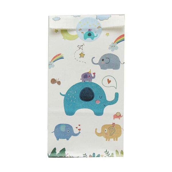 48 шт. украшения для дня рождения, подарочные сумки для детей с изображением жирафа, сумки для конфет с изображением слона, подарочные сумки с изображением диозавра для детского душа, вечерние сумки с тематикой джунглей - Цвет: blue elephant