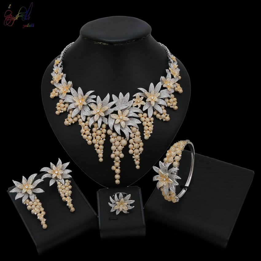 Yulaili Top Quality Luxury Silver Gold Engagement Jewelry Sets with AAA Colorful Cubic Zirconia for Women Bridal Jewelry Sets