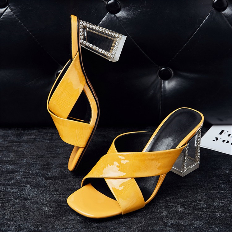 MSSTOR Open Toe Transparent Slippers Genuine Leather Crystal Yellow High Heels Slippers Women Summer Womens Slippers Outdoor
