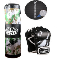2016New Canvas Sandbag Child Adult MMA KickBoxing Punching Bag Heavy Duty Grappling Fighting Boxing Gloves Suit