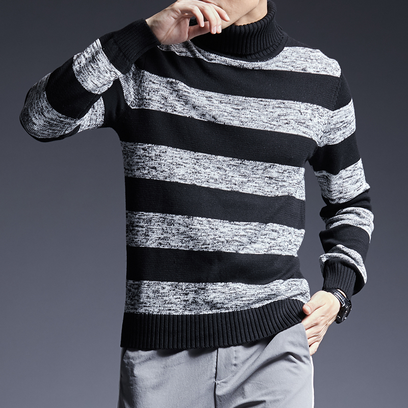 2019 New Fashion Brand Sweater For Men Pullover Turtleneck Slim Fit Jumpers Knitwear Warm Autumn Korean Style Casual Men Clothes