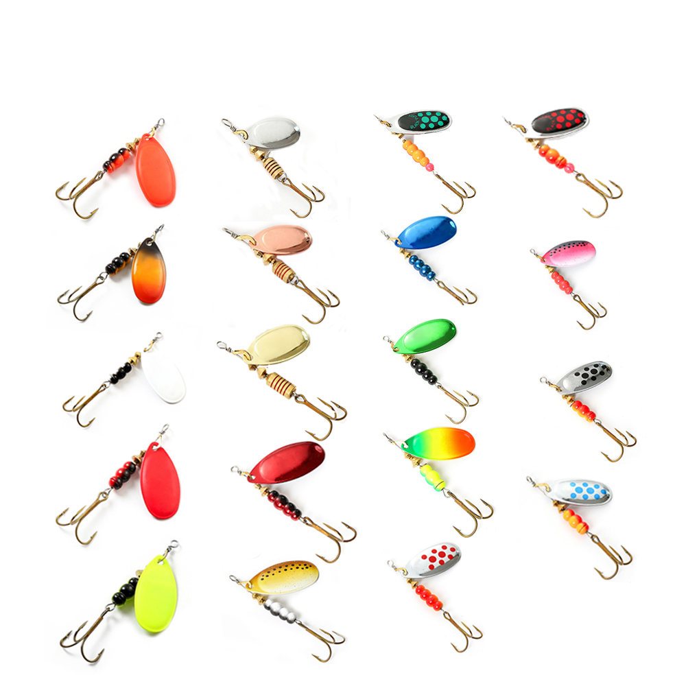 1pc Spinner Bait 1#/2#/3#/4#/5# Metal Fishing Lure Hard Baits Spoon Lures With Treble Hooks Arttificial Bass Bait 20 Colors