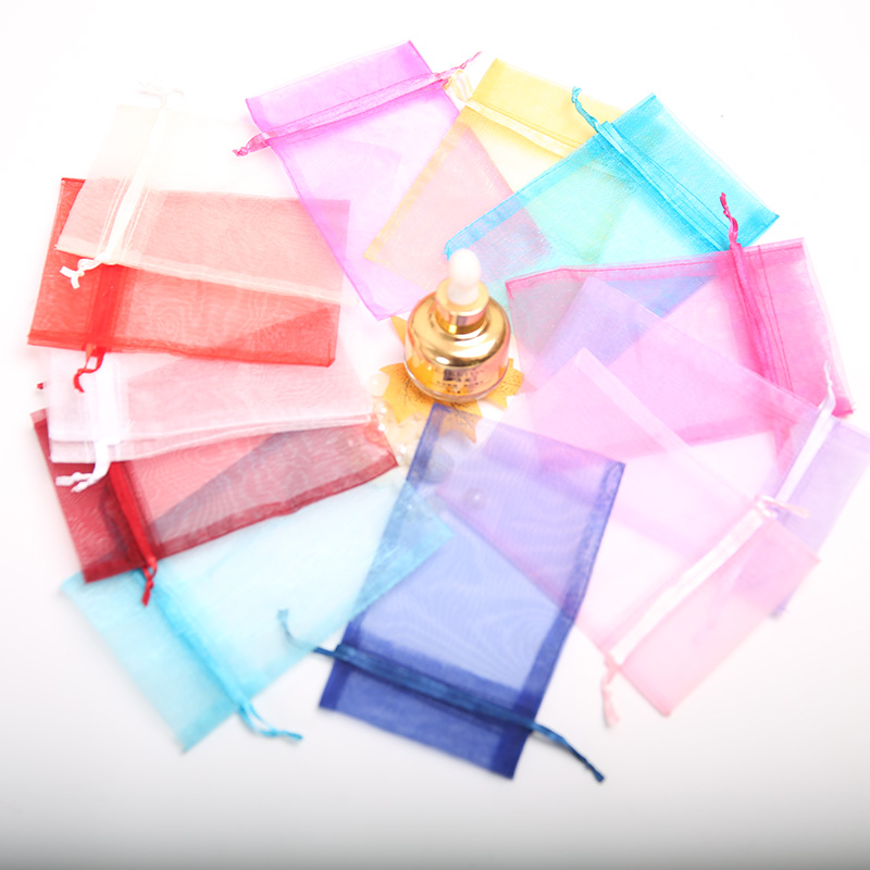 Wholesale 100PCS 7 5 10CM Drawstring Organza Jewelry Bags Wedding Candy Gifts Jewelry Packaging Bag Multicolor