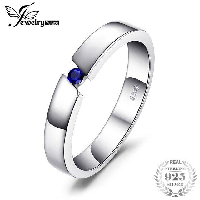 JewelryPalace Classico 0.04ct Creato Blu Zaffiro Fedi Nuziali Anelli Genuine 925 Sterling Silver Gioielleria Raffinata Regalo Per Gli Amanti