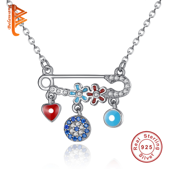 Authentic 925 Sterling Silver Jewelry Enamel Heart Charms AAA+ Zirconia Crystal Evil Eye Long Necklace Pendant for Women Gift