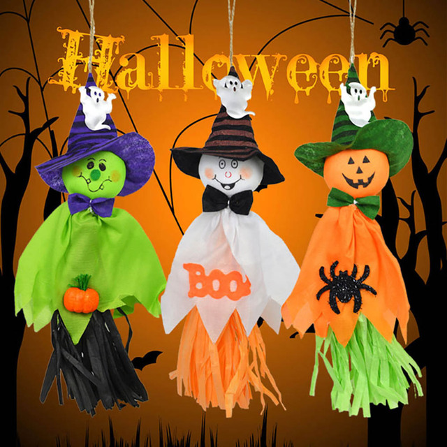 Hanging Halloween Ghost Spook Pumpkin Hat Witch Scarecrow Doll ...