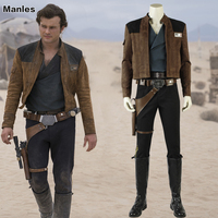 Han Solo Costume Movie Solo A Star Wars Story Cosplay Outfit Carnival Clothes Halloween Jacket Pants Boots Strap Adult Men Suit