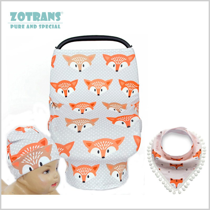Multi-Use Nursing Cover Breathable Stretchy Baby Car Cover for Mum Fox Infant Breast feeding Cover with Cotton Baby Bibs/ Hat