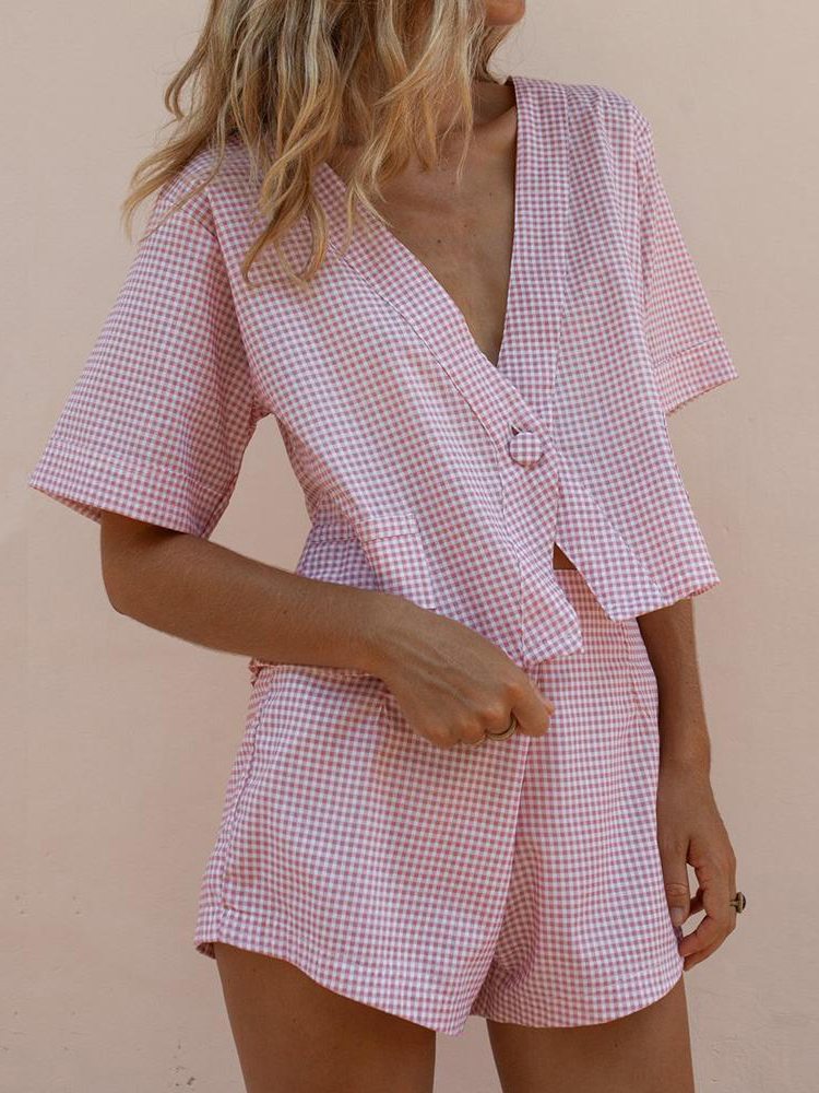 Single Button Pockets Plaid Suits Womens Two Piece Set Short Sleeve V neck Tops and Elastic Waist Shorts Casual Summer Cool Sets in Women 39 s Sets from Women 39 s Clothing