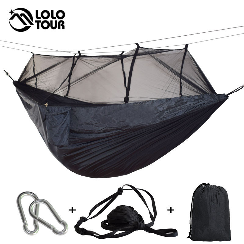 Camouflage Anti-Mosquito Hammock High Quality Durable Outdoor Survival Hamak Can Hold 1-2 Person Hanging Swing Sleeping Tree Bed